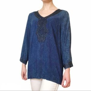 Embellished Navy Blue Tunic Top